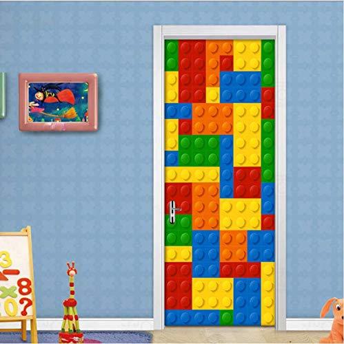 Farbe Lego Blöcke Kinderzimmer Schlafzimmer Tür Dekoration Aufkleber Diy Selbstklebende Wandbild Tapete Für Kinderzimmer 88X200CM