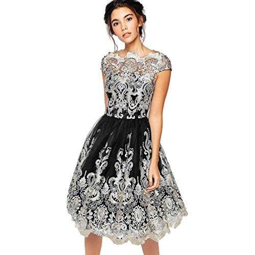 LuckyGirls Elegant Damen Kleider Spitzenkleid Stickerei Brautjungfer Cocktailkleid Knielänge Vintage (S, schwarz)