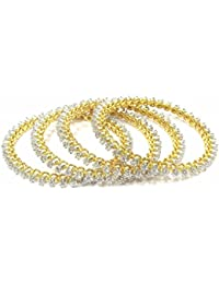 Jewelshingar Jewellery Gold Plated American Diamond Bangles For Women ( 14639-jb-p )