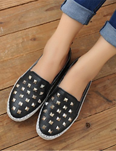 Chaussures Femme Shangyi - Mocassins - Décontracté - Bout Rond - Plat - Similicuir - Noir / Blanc Noir