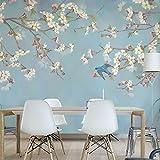 HUANGYAHUI Retro y el pájaro flor papel tapiz, dormitorio, sala de estar, TV, en la pared de fondo, papel tapiz pintado a mano, 3D, pintura tridimensional, -350cmX245cm