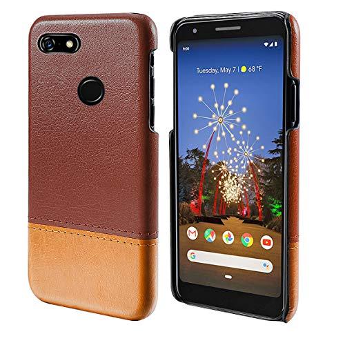 Obamono Tasche für Google Pixel 3a, [Tragbare Brieftasche] [Schlank Fit] Hochleistungsschutz Handytaschen Abdeckung Abdecken Stilvolles Design Rückenschale für Google Pixel 3a - Braun-Licht -
