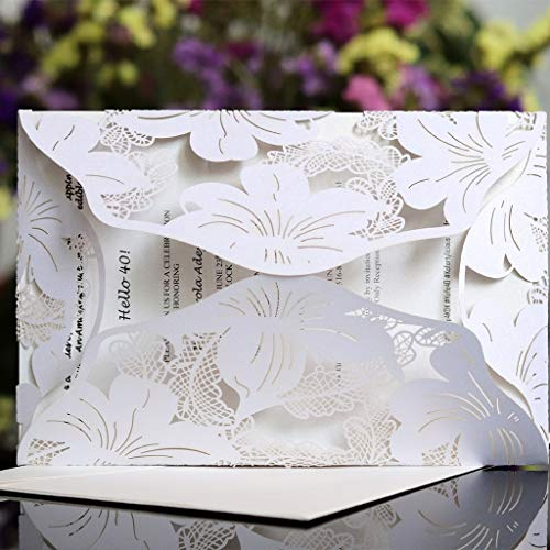 FXCO 20 Einladungskarten zur Hochzeit, Partyeinladungen, mit einer Karte, innen, Kraftpapier, Hochzeitseinladungen, für Hochzeit, Dusche, Geburtstag
