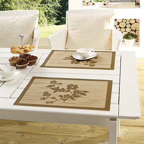 """Stilvolles 4 er Tischset / Platzset aus der OUTDOOR - SERIE """" AMAZING SUNRISE """" - der perfekte Blickfang für drinnen und draußen - geeignet für Haus, Terrasse, Balkon und Garten - ABWASCHBAR - WIND- und WETTERFEST - RUTSCHFEST - geprüfte Qualität nach Öko - Tex Standard 100 - aus dem KAMACA-SHOP - hier das 4 er Set ( = 4 Stück ) in der Farbe MOKKA"""