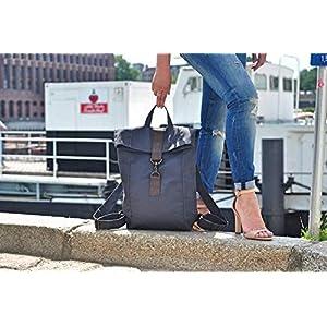 Dunkel grau Canvas Rucksack, Leder Tasche, wasserabweisend, Laptop Tasche, Segeltuch, Herren Tasche,Damen Tasche,Unisex, Reise Tasche, bag