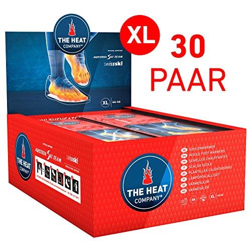 The HEAT company Sohlenwärmer - NEUE GRÖSSEN - 8 Stunden Wärmedauer Wärmesohle Fußwärmer Schuhheizung Fußheizung, XL: Grösse 44 - 46; 30 Paar