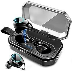 ZOVER Écouteurs sans Fil Bluetooth 5.0, Casque Bluetooth Ecouteurs IPX7 étanches avec Son stéréo Microphone intégré, Écouteurs Bluetooth 100H Playtime avec étui de Chargement de 3000 mAh - Noir