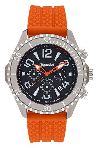 Gigandet Reloj de Hombre Cuarzo Aquazone Cronógrafo Reloj Submarinismo Analógico Silicona Naranja Negro G23-005