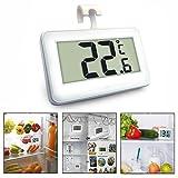 Gearmax® Wasserdicht Digital Kühlschrank Thermometer mit Haken zum Aufhängen, LCD Display Kühlschrank Gefrierschrank Thermometer, Temperaturbereich-4~140 F, Frost Alert Alarm (weiß)