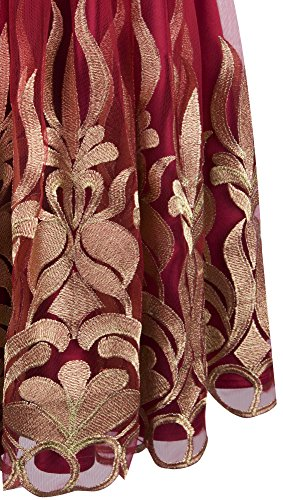 Angel-fashions Femme Bijou sans manches broderie Satin a-ligne plissee robe courte Rouge
