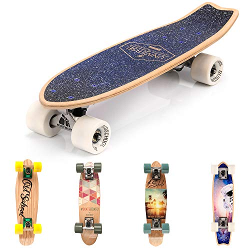 meteor Holz Skateboard Kinder - Mini Cruiser Kickboard - Skateboard mädchen Rollen Board - hohe Qualität Old School Skateboards Holz Deck - Retro Skateboard Jungen - Kinder Mini-Board (Spaceman) -