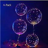IvyLife 4 stücke Bobo Ballon LED Helium Gas Leucht Luftballon Blinklichter für Geburtstag, Dekoration Zum Party, Weihnachten, Hochzeit