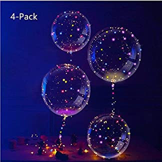 IvyLife Globos LED Románticos con Luces Globos de Látex 18 Pulgadas con LED Muticolores, Innovadores Globos Transparentes de Decoración para Fiesta, Cumpleaños, Boda, Navidad, Carnaval