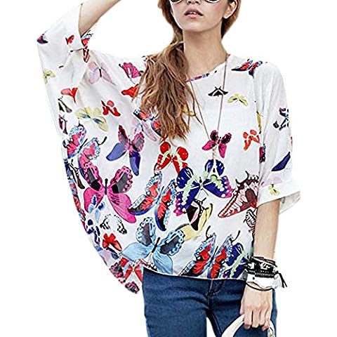Donna Manica 3/4 Bohemian Banda Chiffon Blouse Estate T Shirt Stampa ( Bianco )