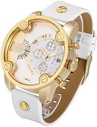 Cagarny 6819Fashionable Multifunctional Korean Style Dual Time Zone cuarzo Business Sport Wrist Reloj con sintética Band & GMT Time & Pedometer & Calendar & Luminous pantalla para hombre (Gold Case White Strap)