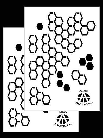 Acide tactique® Lot de 2–22,9x 35,6cm simple design Camouflage Aérographe Pistolet à Peinture en spray–Pochoirs Rocaille Cylindre (hexacam Camouflage)