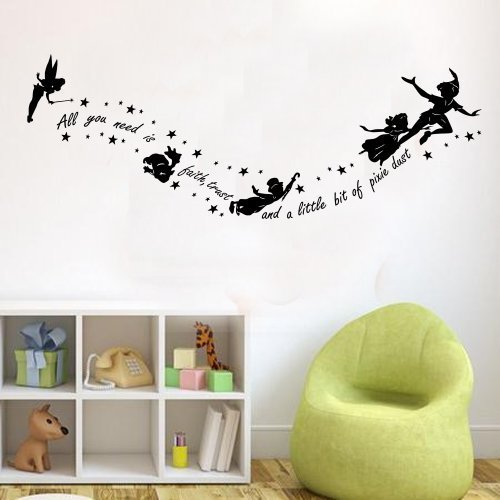Peter Pan All You Need Is Pixy Dust Childrens Wall Sticker Mural ...