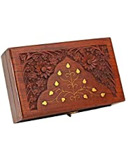 Jk Handicrafts Handmade Wooden Jewellery Box for Women Wood Jewel Organizer Hand Carved with Intricate Carvings Gift Items - 6 inches (Brown02)