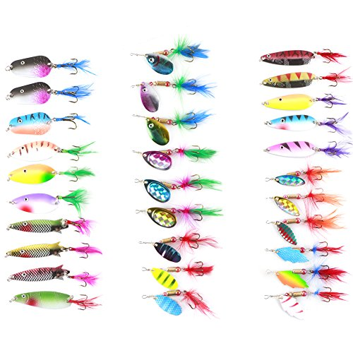 Free Fisher-30pcs Spinner Set Cucharillas Pesca para Lucio Perca Trucha