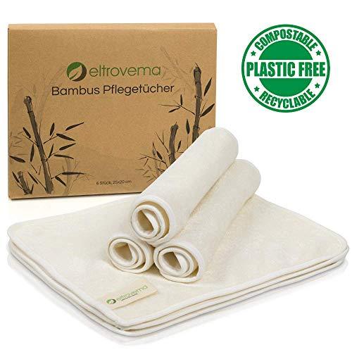Bambus Pflegetücher, Reinigungstücher für die Haut, (6 Stück) - Seiftücher, Kosmetiktücher, hypoallergen, waschbar, Bambus Viskose