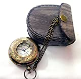 #8: Artshai Victoria London design pocket watch with leather case and chain (Brown)
