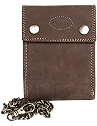 Petit portefeuille brun, en cuir véritable naturel résistant, avec chaîne en métal