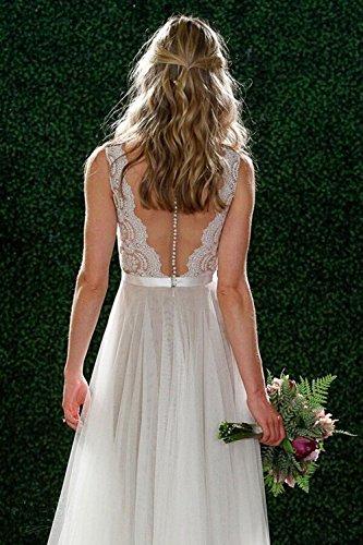 Fanciest Damen Strand Brautkleider Illusion Spitzen Bridal Kleider White  White