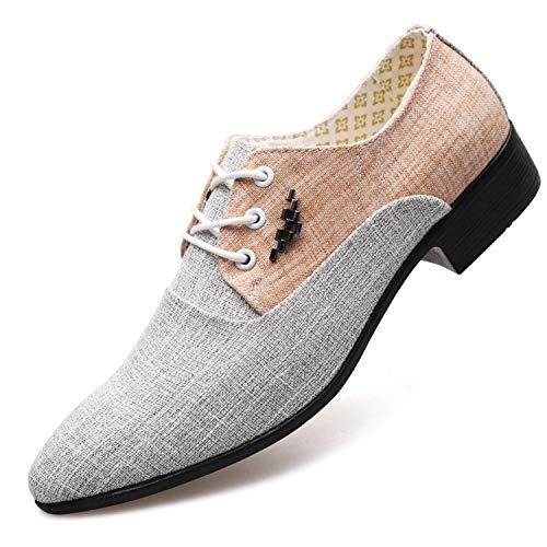 es Spring Summer Men Shoes Canvas Fashion Trend Tie Pointed Breathable Men Party Shoes Linen 6 ()