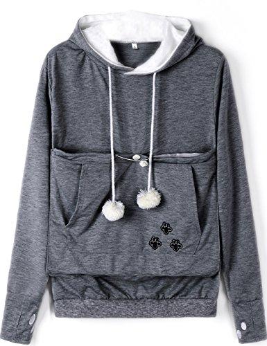 Rolansica Frauen Pullover Hoodie Sweatshirt mit Tasche Kangaroo Hoodie Carrier für kleine Katze Hunde Dunkel Grau M