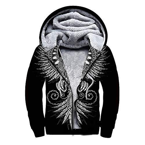 Suéter de otoño e Invierno Más Sudadera de Terciopelo con Cremallera Patrón Vikingo con alasSuéter de Moda Ocio Primavera y otoño Invierno Disponible color131 S