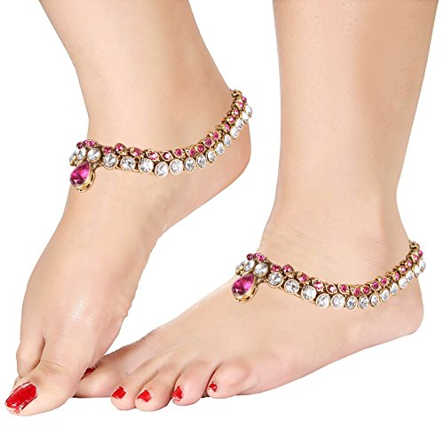 (Ich Jewels Brautschmuck Fußkettchen mit Runde Steine für Mädchen & Frauen a009q)