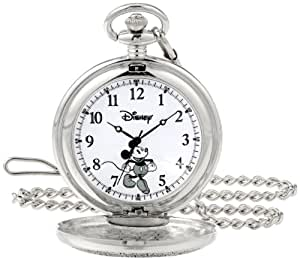 Disney by Ewatchfactory Mickey Mouse Pocket Men's Quartz Watch with White Dial Analogue Display and Silver Bracelet 56403-3468