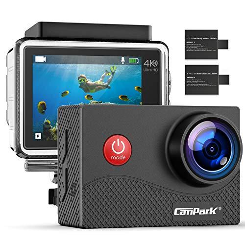 Campark Action Cam 4K WiFi wasserdichte 30m Unterwasserkamera Touchscreen Verstellbarem Sichtfeld Sports Actioncam mit EIS Stabilisierung und 2 1050mAh Akku und Zubehöre Kompatibel mit gopro