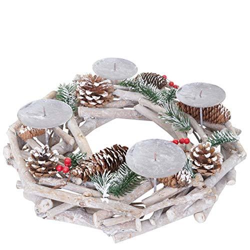 Mendler Adventskranz rund, Weihnachtsdeko Tischkranz, Holz Ø 35cm weiß-grau ~ ohne Kerzen