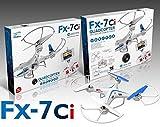 QUADROCOPTER FX-7Ci, Drohne mit HD-Kamera, 6 Achsen-GYRO, 2.4 GHz, 5-Kanal, 44 cm x 44 cm x 8 cm, weiß/blau