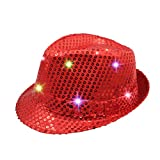 Namsan LED Jazz Hat/Cap Flashing Dance Hat Bright Lighted Light Up Sequin Hat Sequins show Coloful Performing Bling Hats for Party with 9 LED