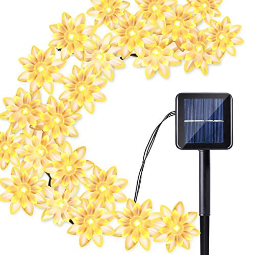 Solar Blume Außenlichterkette,KINGCOO Wasserdicht 23FT 50LED Lotus Blume Solar Lichterketten mit 8 Modus Weihnachtsbeleuchtung für Garten Hochzeit Party Dekoration (Warmweiß) (Solar Oberfläche Licht)
