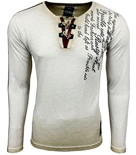 RUSTY NEAL Herren Langarm Longsleeve Kurzarm T-Shirt RN-10115 Beige