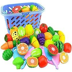 LVPY 23 pièces Appareil de Cuisine Jeux Enfants Jouet Enfant Cuisine pour Enfant, Fruits et légumes et gâteau pour Les Enfants Ensemble