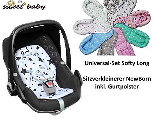 Sweet Baby ** SOFTY PLUS ** Sitzverkleinerer mit Gurtpolster ** Universal-Set für jede Babyschale - atmungsaktiv & waschbar - 100% Baumwolle (Sweet Owls)