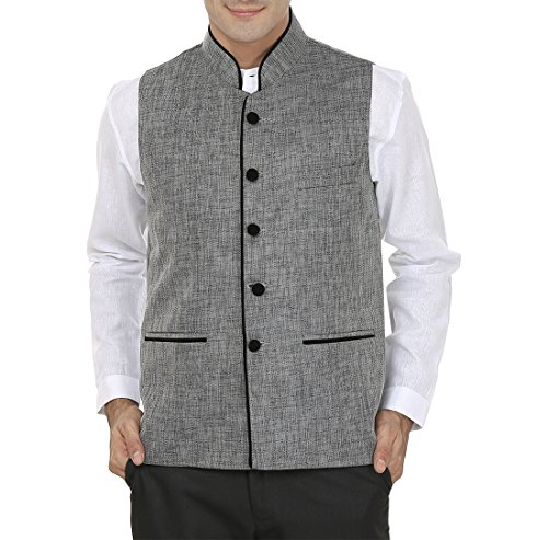 Wintage Men's Rayon Bandhgala Festive and Casual Nehru Jacket Waistcoat-Dark Grey