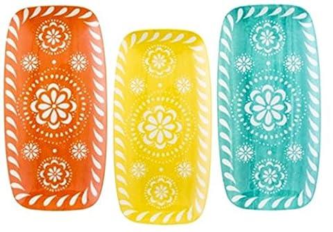 Set of 3 Melamine Serving trays Drip Trays Multi Coloured Trays