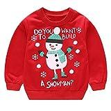 Vovotrade  Collare Rotondo per Bambini Maglione di Natale, Abbigliamento per Bambini Ragazzi per Ragazze Manica Lunga Cartone Animato Babbo Natale Pupazzo di Neve Elk Print Pullover Top