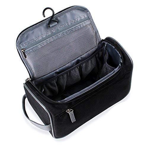 Beauty case da viaggio, borsa per toilette - uomini e donne, con gancio e maniglia, materiale impermeabile, 2 appendiabiti portatili come regalo