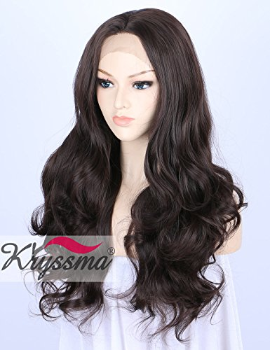 Kryssma Dark Brown Lace Front Wigs for Women Best Synthetic Hair Natural Looking Wavy Wig uk Half Hand Tied Heat Resistant Fiber