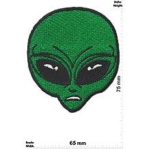 "Parches - Alien Head- green - Fun Alien - Iron on Patch -Parche Termoadhesivos Bordado Apliques - Give Away"""