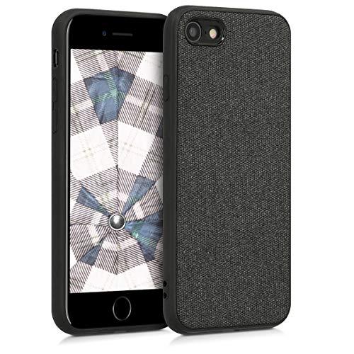 kwmobile Apple iPhone 7/8 Hülle - Stoff Hardcover mit TPU Rahmen - Backcover Case für Apple iPhone 7/8 - Canvas Design Schwarz