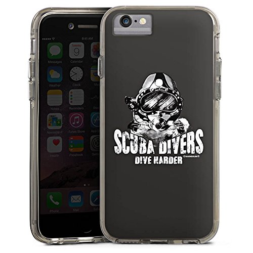 Apple iPhone 6 Bumper Hülle Bumper Case Glitzer Hülle Scuba Divers Dive Harder Taucher Diving Bumper Case transparent grau