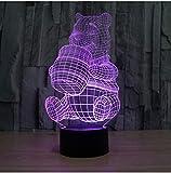 3D Acryl Nachtlicht Neue Kreative 3D Illusion Lampe, Acrylfarbe 7 Ändern Winnie The Pooh Form Led Nachtlichter Usb Neuheit Beleuchtung Tischlampen
