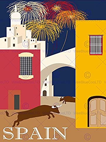 TRAVEL TOURISM SPAIN PAMPLONA BULL RUN FIREWORKS BUILDINGS ARCH 30x40 cms ART POSTER PRINT PICTURE CC6949